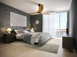 A picture of modern hotel room near the beach. 3D render.